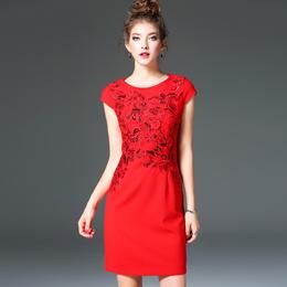 欧洲站2017早春新款女装红色礼服拼接绣花短袖修身显瘦A字连衣裙