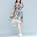 2016夏季新款大码棉麻中长款盛唐风韵图印花假两件连衣裙