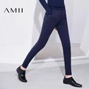 Amii[极简主义]2016秋冬新款女纯色修身小脚九分休闲长裤11643361