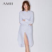 Amii[极简主义]2017夏新宽松翻领纽扣落肩前短后长连衣裙11780680
