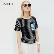 Amii极简法式chic街头T恤2018夏新显瘦条纹艺术印花圆领上衣