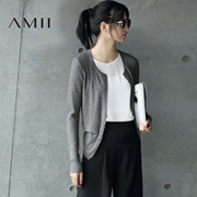 Amii[极简主义]春通勤百搭纯色微弹修身开襟毛针织衫11641961