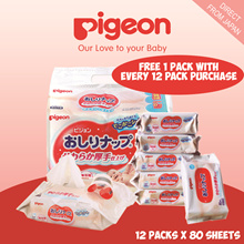 [$ 24.90]鸽子湿巾12包×80片/日本国内/ 99%纯水/超软/压花