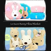 正品Le Sucre兔子枕头毯日本韩国兔娃娃双用手扶沙发垫