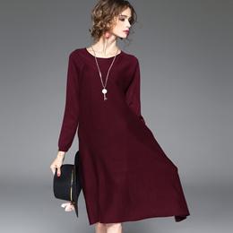 欧洲站2016秋季新款女装欧美气质羊毛混纺纯色拼接A字修身连衣裙