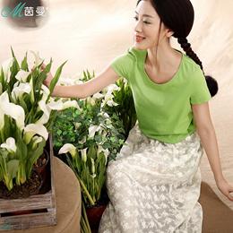 茵曼 夏装新款简约蕾丝半身裙套装裙装女8522500151