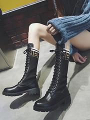 长靴女秋季2018新款韩版百搭直筒高筒靴毛线口弹力瘦腿粗跟骑士靴