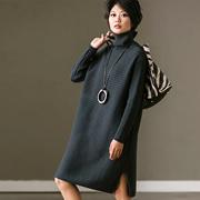 M6115A 大码宽松高领套头开叉中长款加厚包臀毛衣女冬季 米可可