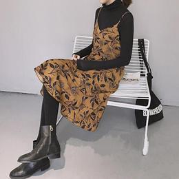 春装新款韩版chic复古印花V领吊带雪纺连衣裙女百搭显瘦中长裙子