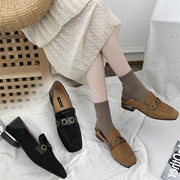 两穿小皮鞋女粗跟皮带扣仙女单鞋女复古欧美2019新款学院风女鞋潮