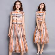 韩版气质条纹波西米亚重磅高档真丝连衣裙夏气质长裙桑蚕丝大牌