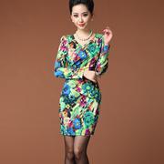 特价 99元 欧美女装数码印花腰肩订珠修腰长袖连衣裙(超弹性)15061