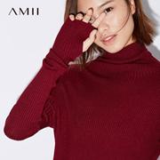 Amii[极简主义]高领毛衣女秋装2017新款修身落肩弹力坑条纹上衣