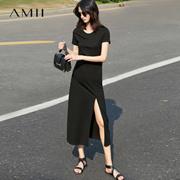 Amii[极简主义]2017夏装新款纯色短袖开叉修身大码中长款连衣裙女