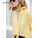 Amii[极简主义]优雅知性气质雪纺衬衫女 2018春新品系带v领上衣