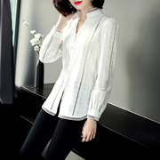 ?#20998;?#31449;2019春夏季新款女装纯棉显瘦长袖衬衫刺绣镂空纯色修身上衣