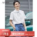 Amii港风chic尖领翻领全棉衬衫女2019夏米白白色个性短袖直筒衬衫