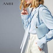 Amii[极简主义]知性系带蝴蝶结天丝衬衫女 2018春新品显瘦上衣