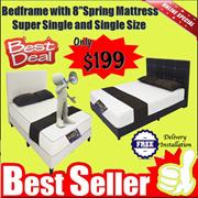 * BEST DEAL *床架与9英寸弹簧床垫单人和单人尺寸