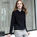 Amii极简美式chic学院风ulzzang毛衣2018冬季新复古撞色拼接上衣