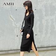 Amii[极简主义]腰带连衣裙女秋装2017新款直筒大V领高开衩裙子