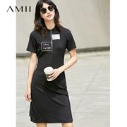 Amii[极简主义]2017夏新品运动休闲字母印花连衣裙11762118