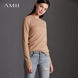 AMII优雅气质 100%羊绒毛衣女 2017秋冬修身圆领上衣