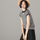 米可可  Z8168 文艺大码圆领条纹短袖T恤薄款套头针织衫女 18夏