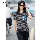 【特价】Amii[极简主义]夏新品气质休闲宽松显瘦艺术印花条纹T恤 11762234