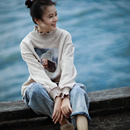 R2090 韩版减龄宽松短款印花加绒加厚半高领休闲卫衣2019新款女米可可