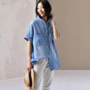 包邮 米可可 C2873 文艺大码明线双兜质感纯棉chic宽松牛仔衬衫女 春