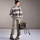 R0975  韩版洋气宽松百搭破边条纹加厚加绒休闲短卫衣2019新款米可可