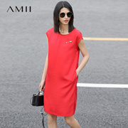 Amii[极简主义]2017夏新大码休闲圆领盖袖扣针宽松连衣裙女装纯色