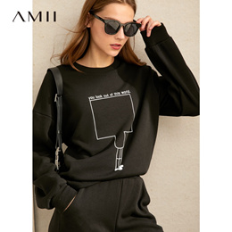 Amii极简减龄卫衣套装2019冬新款加绒保暖印花休闲长裤两件套