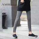 Amii[极简主义]动感百搭 印花加绒打底裤 2017冬装新弹力修身保暖