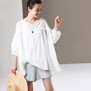 米可可 C1050 文艺大码花边白色纯棉薄款透视宽松衬衫女 2019夏