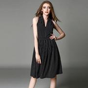 欧洲站2016春夏女装新款连衣裙女欧美时尚气质V领条纹显瘦背心裙