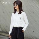 Amii[极简主义]纯棉印花衬衫女2017秋装新款翻领长袖宽松大码上衣