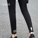 Amii[极简主义]2016冬新款加绒加厚显瘦黑色外穿打底裤九分长裤女11624635