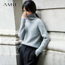 AMII[极简主义]肌理感 半高领毛衣女 2017秋冬新品竖纹加厚毛衣