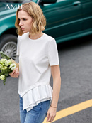 Ami minimalist fashion machine T-shirt female 2019 summer new round collar short-sleeved asymmetrica