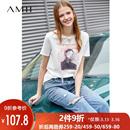 Amii极简chic潮ulzzang港风T恤2019夏新休闲宽松圆领印花短袖上衣