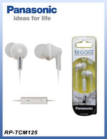 松下RP-TCM125-W立体声耳道耳朵Ergofit耳机+麦克风/ RP-TCM125白色[