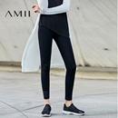 Amii2017春季新款条纹大码百搭修身九分打底裤女11730180