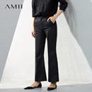 Amii[极简主义]2017春装新品时尚修身微喇叭西装裤女11770584