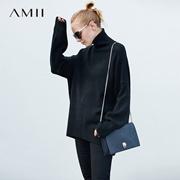 AMII[极简主义]遮肉显瘦 高领毛衣 2017冬高领宽松下摆后开衩上衣