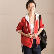 W5019A 韩版棉麻宽松短款外套 撞色连帽抽绳防晒衫女 新 米可可