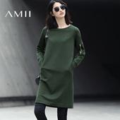 Amii[极简主义]2017春新通勤全棉圆领插肩袖纯色短连衣裙11740214