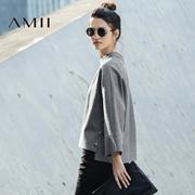 Amii[极简主义]冬新摁扣开衩毛边宽松长袖呢子卫衣21623348