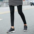 Amii[极简主义]2017夏装新款女大码修身橡筋腰立体打底裤11742360
